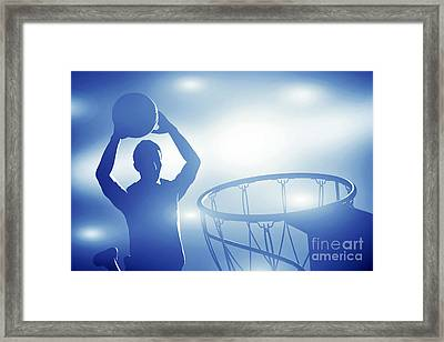 Basketball Player Jumping For Slam Dunk Framed Print