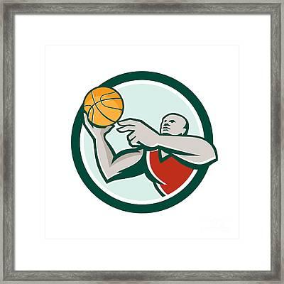 Basketball Player Lay Up Ball Circle Retro Framed Print by Aloysius Patrimonio