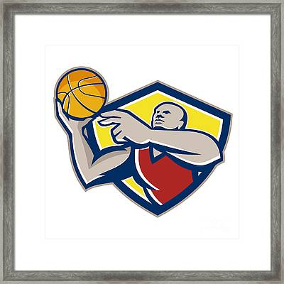Basketball Player Laying Up Ball Retro Framed Print by Aloysius Patrimonio