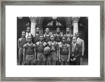 Basketball Team Portrait Framed Print by Underwood Archives