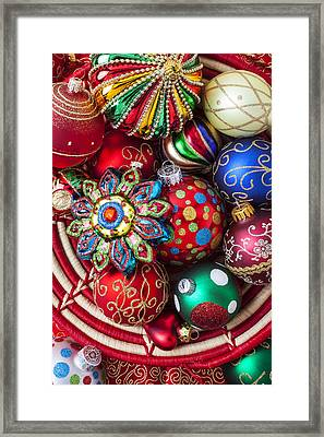Basketful Of Christmas Ornaments Framed Print by Garry Gay