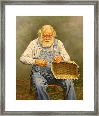 Basketmaker  In Oil Framed Print by Paul Krapf