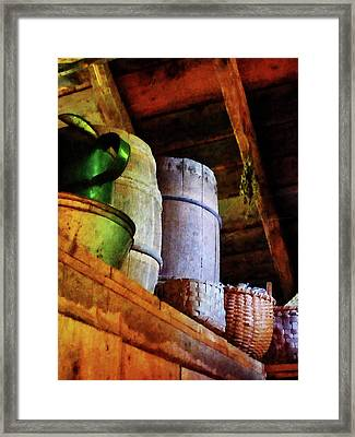 Framed Print featuring the photograph Baskets And Barrels In Attic by Susan Savad