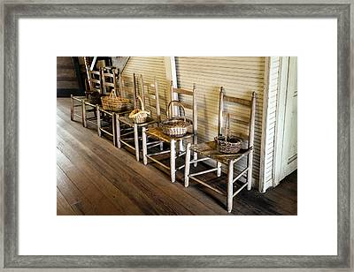 Baskets On Ladder Back Chairs Framed Print by Lynn Palmer