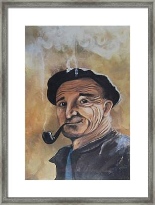 Framed Print featuring the painting Basque Man With Pipe by Cathy Long