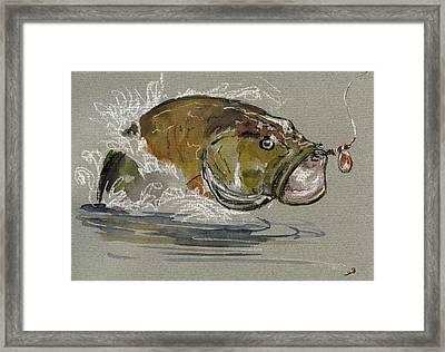 Bass Fishing Framed Print by Juan  Bosco