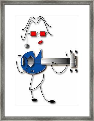 Framed Print featuring the digital art Bass Guitar Girl by Marvin Blaine