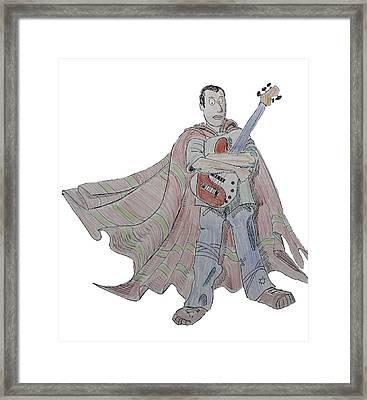 Bass Guitarist Cartoon Framed Print