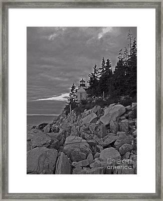 Bass Harbor Black And White   Framed Print