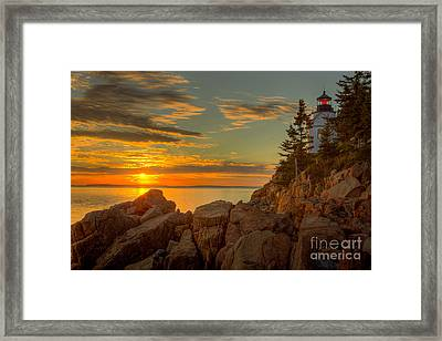 Bass Harbor Head Light At Sunset I Framed Print