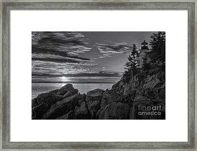 Bass Harbor Head Light At Sunset II Framed Print