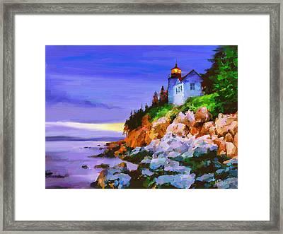 Bass Harbor Head Light At Sunset Framed Print by Marina Likholat