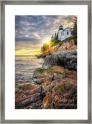 Bass Harbor Head Light Framed Print by Benjamin Williamson