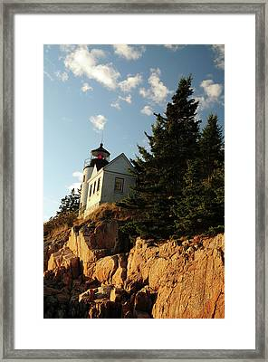 Bass Harbor Head Lighthouse In Late Framed Print by Michel Hersen