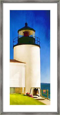 Bass Harbor Head Lighthouse Maine Framed Print by Carol Leigh