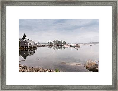 Bass Harbor In The Morning Fog Framed Print by John M Bailey