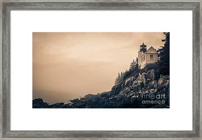 Bass Harbor Light House Mount Desert Island Maine Framed Print by Edward Fielding