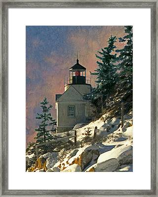 Bass Harbor Light In A Winter Storm Framed Print by Brent Ander