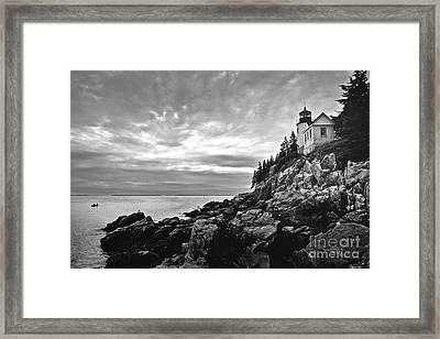Bass Harbor Lighthouse At Dusk Framed Print by Diane Diederich
