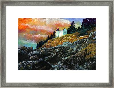 Framed Print featuring the painting Bass Harbor Lighthouse Sunset by Brent Ander