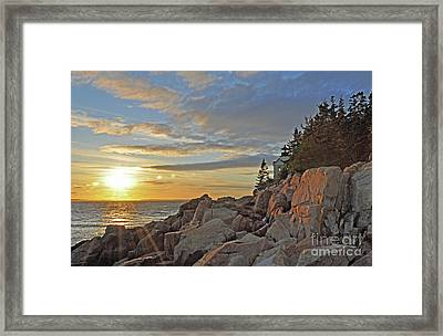 Framed Print featuring the photograph Bass Harbor Lighthouse Sunset Landscape by Glenn Gordon