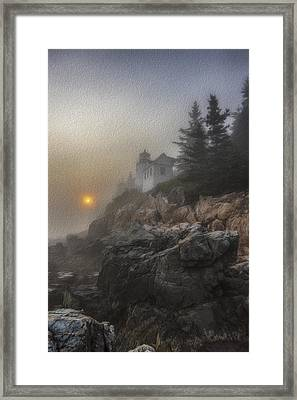Bass Harbor Mist Framed Print by Sara Hudock
