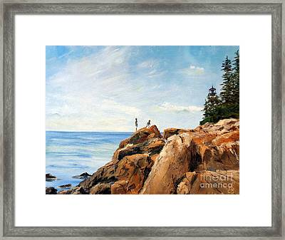 Bass Harbor Rocks Framed Print by Lee Piper