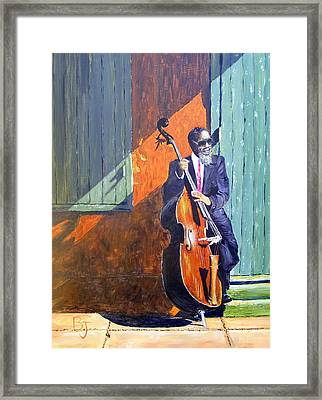 Bass Player In New Orleans Framed Print by Barbara Jacquin