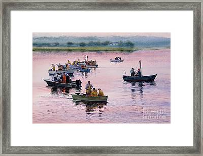 Bass River Scallopers Framed Print by Karol Wyckoff