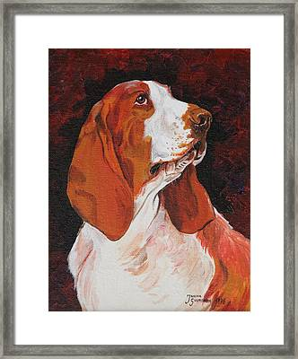 Basset Called Mary Framed Print by Janina  Suuronen