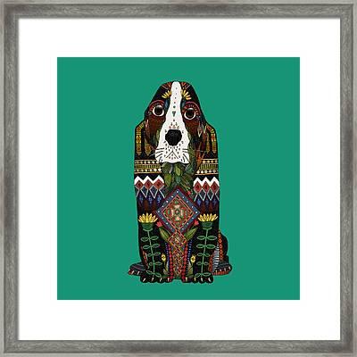 Basset Hound Jade Framed Print by Sharon Turner