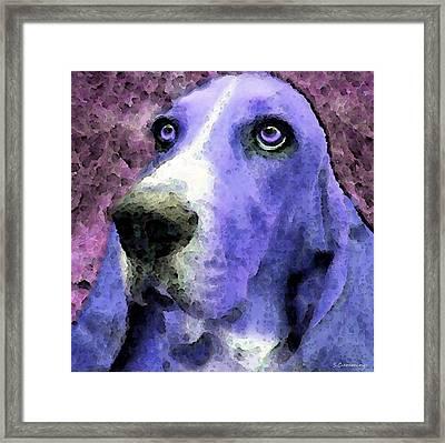Basset Hound - Pop Art Purple Framed Print by Sharon Cummings