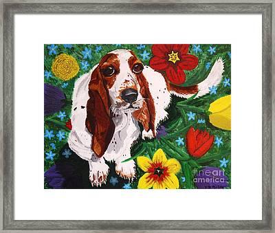 Basset Hound Framed Print by Vicki Maheu
