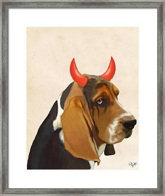 Basset Hound With Devil Horns Framed Print by Kelly McLaughlan