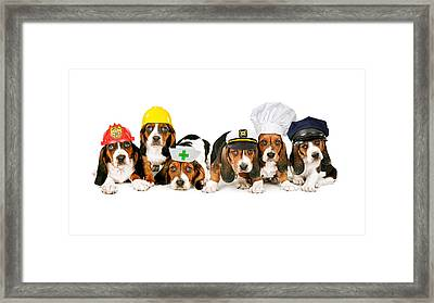 Bassets In Work Hats  Framed Print