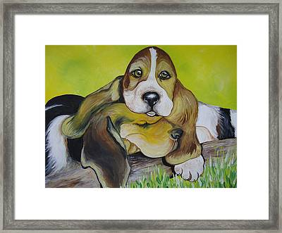 Bassett Hound Pups Framed Print