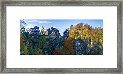 Bastei Bridge In The Elbe Sandstone Mountains Framed Print