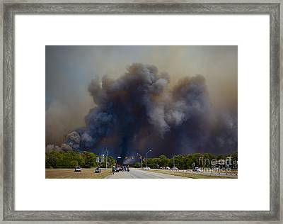 Bastrop Burning Car Explosion Framed Print