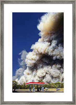 Bastrop Burning Exxon Framed Print