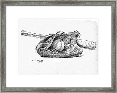 Bat Ball And Glove Framed Print