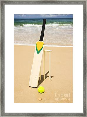 Bat Ball And Stumps Framed Print