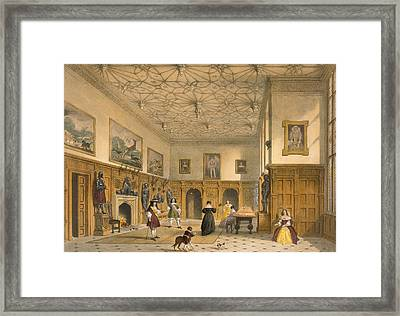Bat Game In The Grand Hall, Parham Framed Print by Joseph Nash