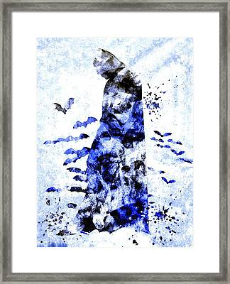Bat Man Grunge Framed Print by Daniel Janda