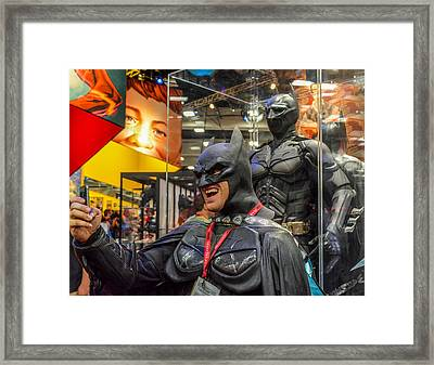 Bat Man's Selfie Framed Print by Pamela Schreckengost
