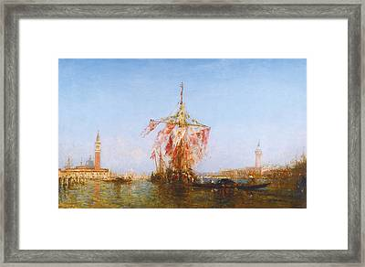 Bateau Pavoise Sur Le Bassin Framed Print by Celestial Images