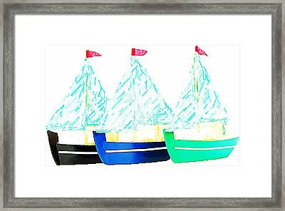 Bateaux A Voiles Framed Print by ABA Studio Designs