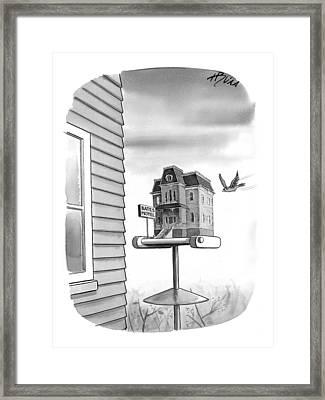 Bates Motel Birdhouse Framed Print by Harry Bliss