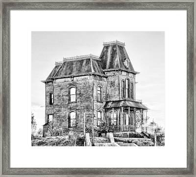 Bates Motel Haunted House Black And White Framed Print by Paul W Sharpe Aka Wizard of Wonders
