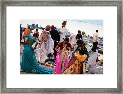 Bath At Ghat Framed Print by Money Sharma