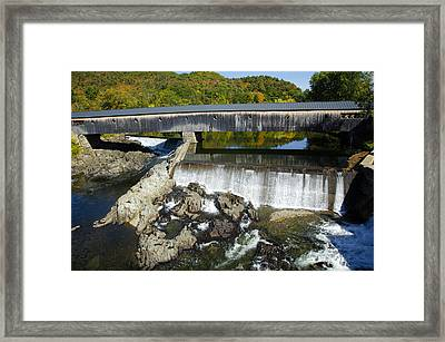 Bath Haverhill Covered Bridge In Autumn Framed Print